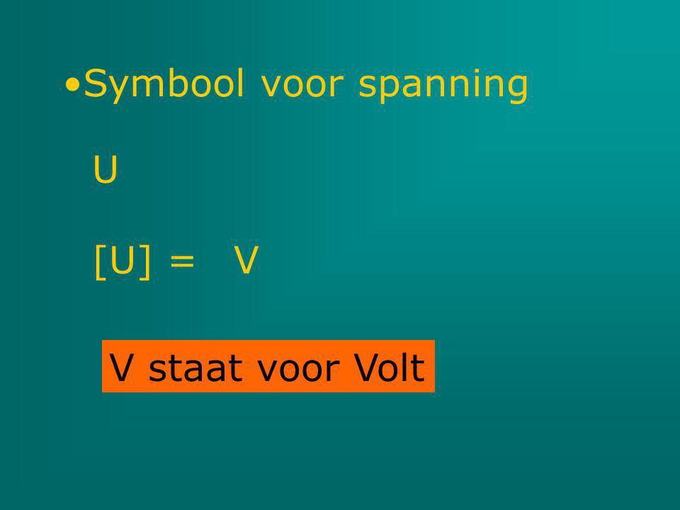 Symbool voor spanning U [U] = V V staat voor Volt